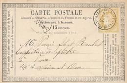 """1874 CERES N°59 15c OBL T16 """" PONT L'ABBÉ PICAUVILLE 29/5/74 MANCHE > VAUX SEINE ET OISE CARTE PRECURSEUR Entier PC - 1849-1876: Classic Period"""