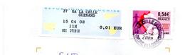 Vignette GAPA Indre Et Loire GA LA CELLE GUENAND + Cachet Manuel LA CELLE GUENAND De 2008 Guichet Annexe - 2000 «Avions En Papier»