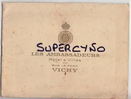 03 VICHY LIVRET HOTEL LES AMBASSADEURS 5 FEUILLETS + COUVERTURE LE RESTAURANT LE HALL LE BAR LE SALON LE GRAND ESCALIER - Tourism Brochures
