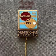 Badge Pin ZN010048 - Table Tennis (Ping Pong) Soviet Union USSR SSSR CCCP Russia Moscow European Championships 1984 - Tennis Tavolo