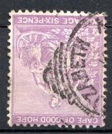 """CAP DE BONNE ESPERANCE (Colonie Britannique) -1864-76 - N° 16 - 6 P. Violet - (""""Espérance"""", Allégorie) - Kap Der Guten Hoffnung (1853-1904)"""