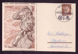 DR  Dt. Bes. Sonder-Postkarte Ostland P3  Afrikakops - DORPAT - Pforzheim - 11.1.1942 Tag Der Briefmarke -beschnitten - Covers & Documents