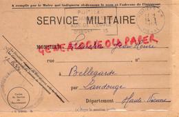 87 - LANDOUGE -POITIERS- RARE CARTE RECRUTEMENT MILITAIRE JEAN HENRI FAUCHER A BELLEGARDE-1965- - Documenti Storici