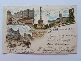#2 Allemagne Germany Deutschland Gruss Aus Berlin 1897 Litho Postcard Circulated , Circuler 2 Scans - Sin Clasificación