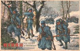Pub Publicité Carte Publicitaire Birrh Vin Tonique Sur Cpa Militaire Infanterie En Reconnaissance Guerre Cachet 1917 - Publicité