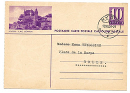 "292 - 59 - Entier Postal Avec Illustration ""Nyon"" Cachet à Date Nyon 1939 - Stamped Stationery"