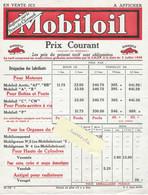 1938 / Affiche Tarif Huiles MOBILOIL - Cars