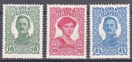 Austria Feldpost 1918 Mi#73-75 Mint Hinged - Unused Stamps
