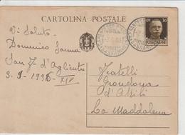 A64. San Francesco D'Aglientu. 1936. Annullo Guller SAN FRANCESCO D'AGLIENTU*SASSARI*, Su Cartolina Per LA MADDALENA - Marcofilía