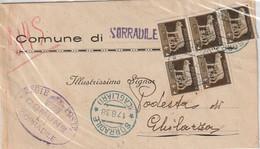 A64. Sorradile. 1938. Annullo Guller  SORRADILE (CAGLIARI), Su Lettera Affrancata Con Blocco Di 5 Del 5 C Imperiale - Marcofilía