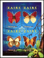 ZAIRE 1996 Butterflies Butterfly Insects Animals Fauna MNH - Mariposas