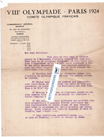 Courrier à Entête - VIIIè OLYMPIADE - PARIS 1924 - COMITE OLYMPIQUE FRANCAIS - Altri