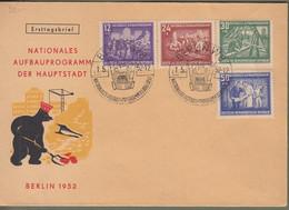 """DDR: FDC / Ersttagsbrief Mit Mi-Nr  302-06 ESST: """" Nationales Aufbauprogramm Der Hauptstadt Berlin 1952 """"    X - Storia Postale"""