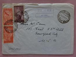 REPUBBLICA 1947 - Lettera Spedita Negli USA Per Via Aerea + Spese Postali - 1946-60: Marcophilia