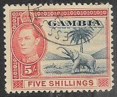 Gambia   1938   Sc#142   5sh GEO VI Used   2016 Scott Value $4.50 - Gambia (...-1964)