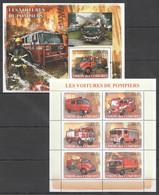 UC106 2008 UNION DES COMORES LES VOITURES DE POMPIERS FIRE TRUCKS 1KB+1BL MNH - Trucks