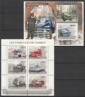 UC112 2008 UNION DES COMORES LES VEHICULES DE COMBAT MILITAIRE 1KB+1BL MNH - Trucks