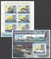 UC113 2008 UNION DES COMORES SHIPS & BOATS LES BATEAUX DE CROISIERE 1KB+1BL MNH - Ships