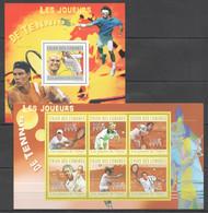 UC167 2010 UNION DES COMORES SPORT TENNIS CHAMPIONS FEDERER NADAL AGASSI 1KB+1BL MNH - Tenis