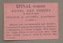 PUBLICITE ANCIENNE 1896.. EPINAL (88) Hôtel Des Vosges, Propriétaires DEMANGE Et LECOMTE - Werbung