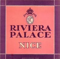 """09451 """"RIVIERA PALACE - NICE"""" ETICH. ORIG. HOTEL - Etiquetas De Hotel"""