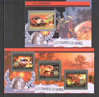 BC005 2012 GUINEE GUINEA TRANSPORT FIRE TRUCKS FIREFIGHTERS OF THE WORLD GERMANY 1KB+1BL MNH - Cars