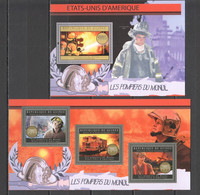 BC006 2012 GUINEE GUINEA TRANSPORT FIRE TRUCKS FIREFIGHTERS OF THE WORLD USA 1KB+1BL MNH - Cars