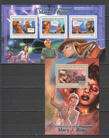 BC134 2012 GUINEE GUINEA FAMOUS PEOPLE MARY J. BLIGE SINGER 1KB+1BL MNH - Royalties, Royals