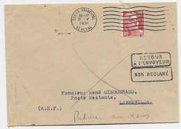GANDON 15FR ROUGE LETTRE MECANIQUE DAKAR PRINCIPAL 31.V.1951 SENEGAL POUR A.E.F. - 1945-54 Marianne Of Gandon