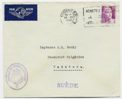 GANDON 15FR GRAVE SEUL LETTRE AVION BORDEAUX RP 26.XII.1946 POUR SUEDE + CONSULAT DE SUEDE A BORDEAUX AU TARIF - 1945-54 Marianne De Gandon