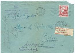 Yugoslavia Letter 1955 Belgrade Via Bitola ,post Label INCONNU,receipt Postmark Belgrade - Covers & Documents