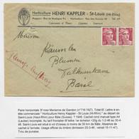 GANDON 3FR N°716X2 PAIRE LETTRE OBLITERATION FAIBLE ST LOUIS HT RHIN 1946 POUR BALE SUISSE TARIF FRONTALIER - 1945-54 Marianna Di Gandon