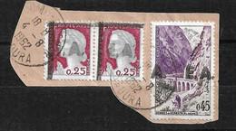 Algérie Fragment N° 355 Paire & 356  Surcharge EA Colomb Béchar Type 5.12  Oblitérés 4/8/1962  T B  Voir Scans  Soldé ! - Used Stamps