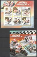 BC1219 2011 MOZAMBIQUE MOTOSPORT MOTORCYCLES TRIBUTE TO MARCO SIMONCELLI KB+BL MNH - Motos