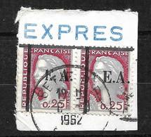 Algérie Fragment N° 355 Paire Surcharge EA Sétif  Type 12.12  Dont E Cassé Oblitérés  6/8/1962  T B  Voir Scans  Soldé ! - Used Stamps