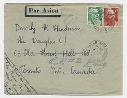 GANDON 25FR GRAVE +5FR VERT LETTRE AVION CLERMONT FERRAND 1946 POUR LE CANADA TARIF NORMAL - 1945-54 Marianne Of Gandon