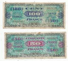 Billet , FRANCE, Série De 1944 , 100, Cent Francs (série 5) / 50, Cinquante Francs (série 2). LOT DE 2 BILLETS - Non Classés