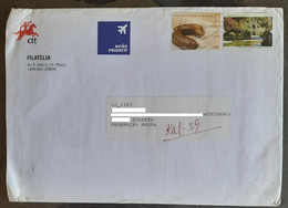 158.PORTUGAL 2004 USED REGULAR PHILATELIC  AIRMAIL COVER TO INDIA WITH (02) STAMPS . - Covers & Documents