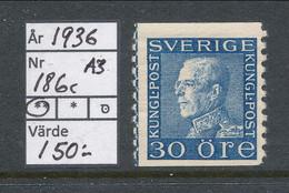Sweden 1936 Facit # 186c A3 Paper. King Gustaf V, Left Profile, MNH (**) - Neufs