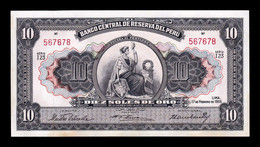 Peru 10 Soles De Oro Liberty 1955 Pick 75 SC- AUNC - Peru