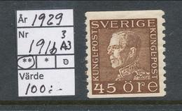 Sweden 1929 Facit # 191b A3 Paper. King Gustaf V, Left Profile, MNH (**) - Nuevos