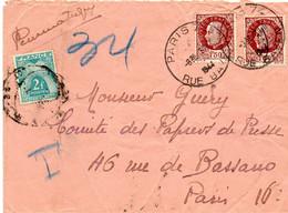 """FRANCE.1944.1948.  DEUX  """"PNEUMATIQUES"""" AVEC TAXES . - 1859-1955 Covers & Documents"""