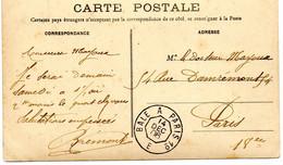 "FRANCE.1906.   CARTE POSTALE. ""AMBULANT BALE A PARIS 1°/E"" - Railway Post"