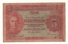 MALAYA  5 Cents    P7b     King GEORGE VI   Dated 1st  July  1941 - Malaysia