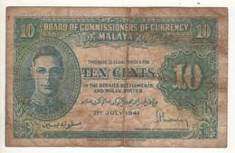 MALAYA  10 Cents    P8     King GEORGE VI   Dated 1st  July  1941 - Malaysia