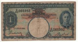 MALAYA   1 Dollar    P11     King GEORGE VI   Dated 1st July  1941 - Malaysia