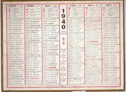CALENDRIER GF 1940 - Sans Texte Et Sans Photo-image, édition Des P&T - Tamaño Grande : 1921-40