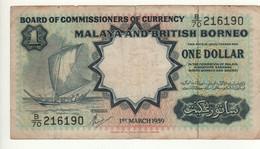 MALAYA & British BORNEO    1 Dollar     P8A    Dated 1st March 1959   ( Thomas De La Rue    Sailing Boat ) - Malaysia