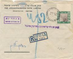 Israel - 1949 - 40P Stamp Single Franking On R-cover Censored (?) Anglo-Palestine Bank Petah-Tikvah - Briefe U. Dokumente