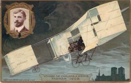 Aviation - Voyage De Chalons à Reims Farman 1908, Collection éditée Par Lefèvre-Utile, Gaufrée (LU) - ....-1914: Précurseurs